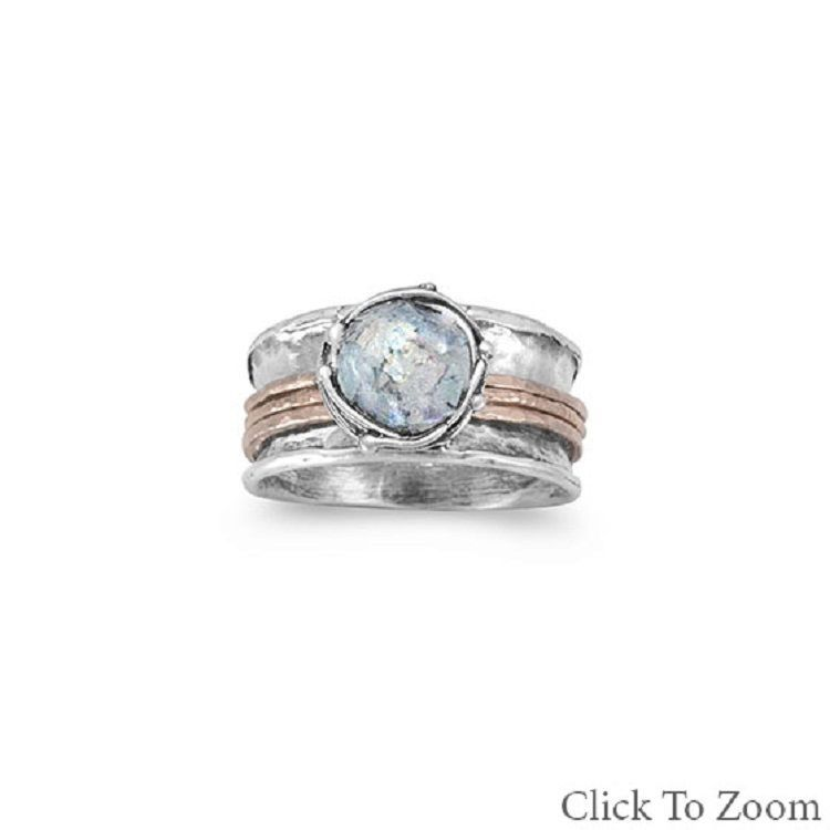 Two Tone Roman Glass Spin Ring with Rose Gold bands