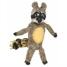 Fair Trade Finger Puppet Racoon - Christmas Tree Ornament Dzi Wild Woolie - $10.88