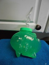 NEW HARD PLASTIC FISH CUP BOTTLE WITH LID & STRAW NEW GREEN - $5.35