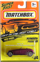 Matchbox - Plymouth Prowler: MB Action System #34/75 (1996) *Maroon Edition* - $6.49