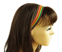 Black, Green, Orange Peruvian Ethnic Woven Headband, Skinny thin boho he... - $5.80