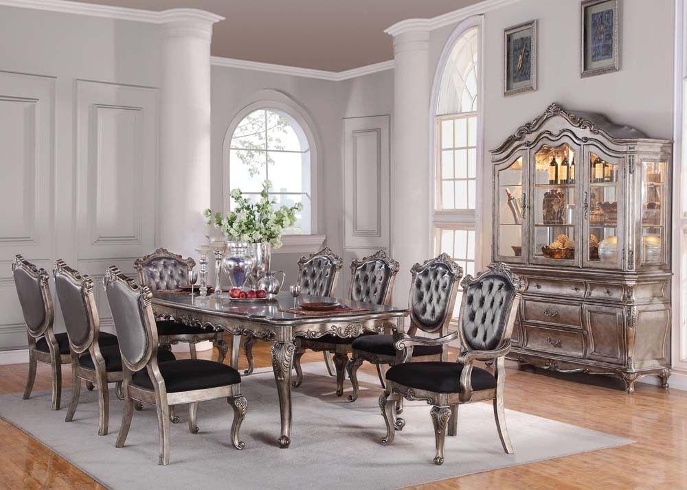 Acme 60547 Chantelle Traditional Antique Platinum Finish Dining Table Set