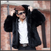Men's Long Sleeve Hooded Front Zip Up Long Hair Faux Fur Coat Jacket w/ Pockets