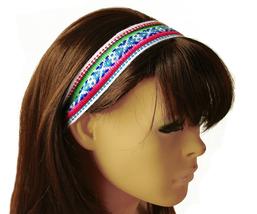 White, Magenta, Blue Peruvian Ethnic Woven Headband, Skinny thin boho he... - €5,19 EUR