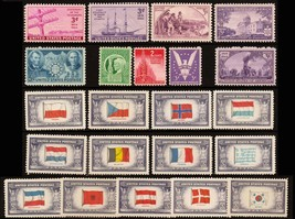 1941-44 Year Set of 22 Commemorative Stamps Mint NH - Stuart Katz - $11.95