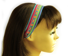 Turquoise, Yellow, Green Peruvian Ethnic Woven Headband, thin boho headband - $5.80