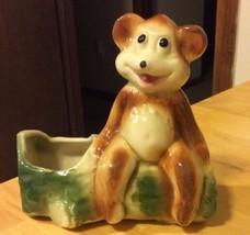 Vintage Ceramic Bear On Log Planter - $9.49