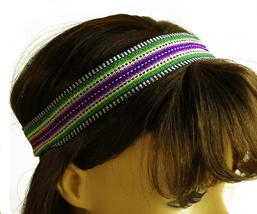 Black, white, purple Peruvian Ethnic Woven Headband, Skinny thin boho he... - €5,15 EUR