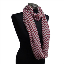 Chevron Sheer Infinity Scarf Maroon Contrasting Colors Soft Warm Gift US... - €5,44 EUR