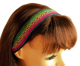 Black, Orange, Magenta Peruvian Ethnic Woven Headband, Skinny thin boho ... - $5.80