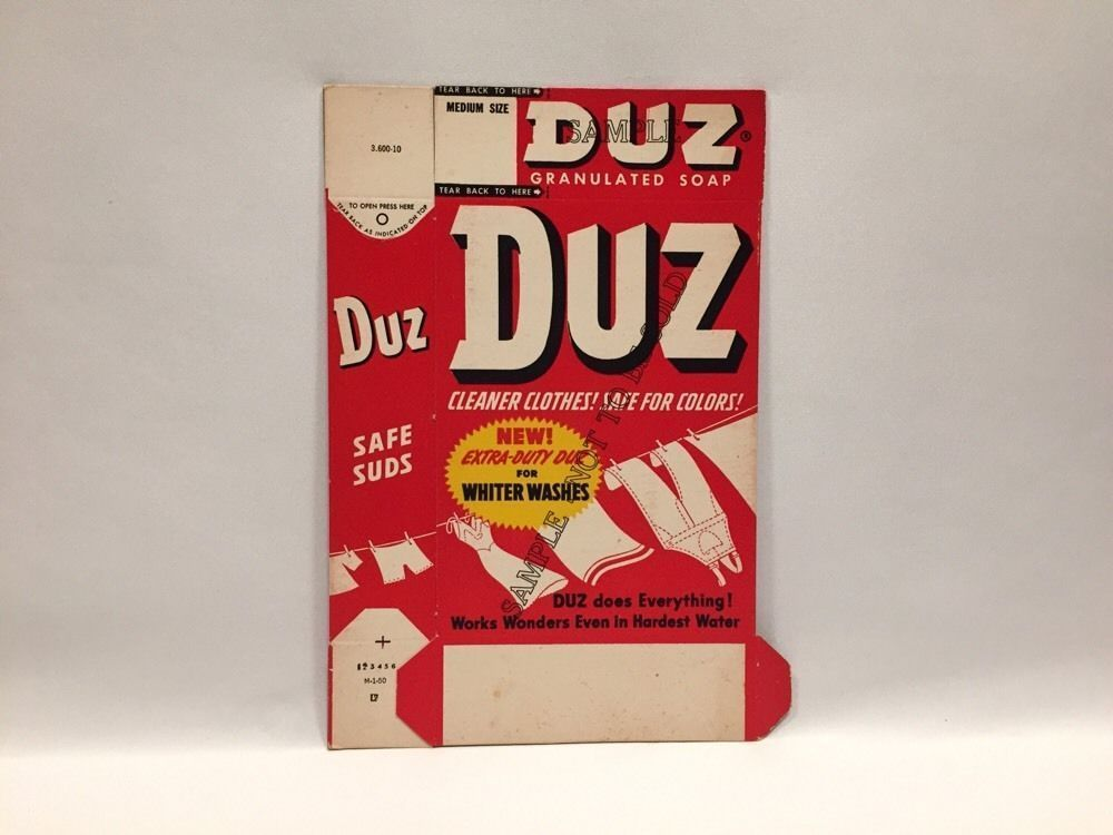 Vintage Duz Granulated Soap Box Sample Flat Unfilled Medium Size 7.8 oz