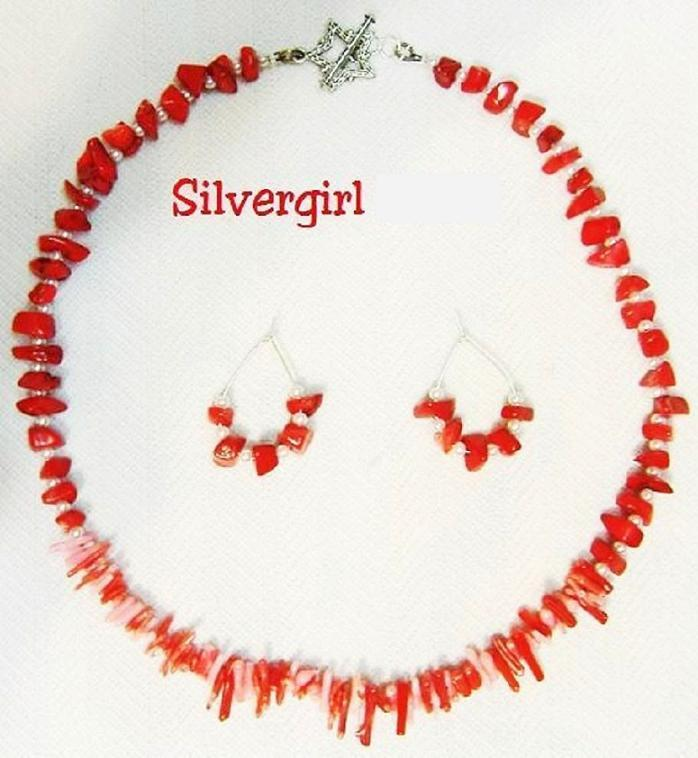 Red pink branch and chip coral bracelet earring set