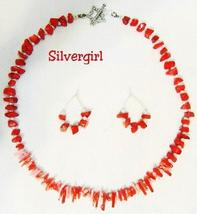 Red Pink Branch and Chip Coral Bracelet Earring Set - $29.99