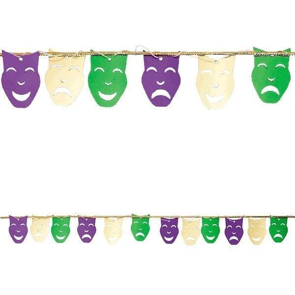 Mardi Gras String Garland Comedy Tragedy Foil Mask 9 ft