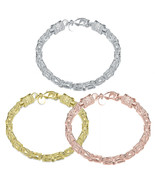 7.2mm All Shiny Classic Byzantine Bracelet Lobster Lock Yellow Gold Plated - $9.99