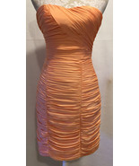 H&M Coral Orange Ruched Bodycon Homecoming Prom Fitted Mini Dress Size 6... - $29.99