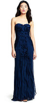 Adrianna Papell New Sexy Navy Ruffle Front Strapless Dress Gown   14     $240 - $169.00