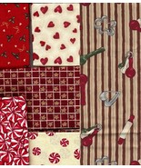 2 Yds Holiday, Christmas Rare Fabrics, Hearts, ... - $29.77