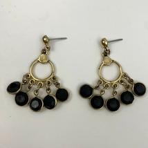 Black Bezel Style Drop Dangle Earrings Gold Tone Chandelier Pierced Boho - $8.37