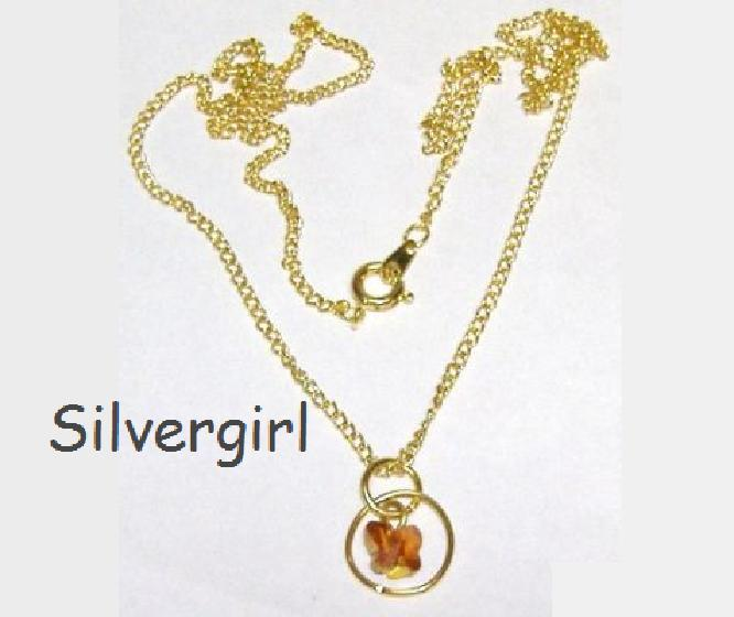 Butterfly Swarovski Crystal in Ring Necklace 18
