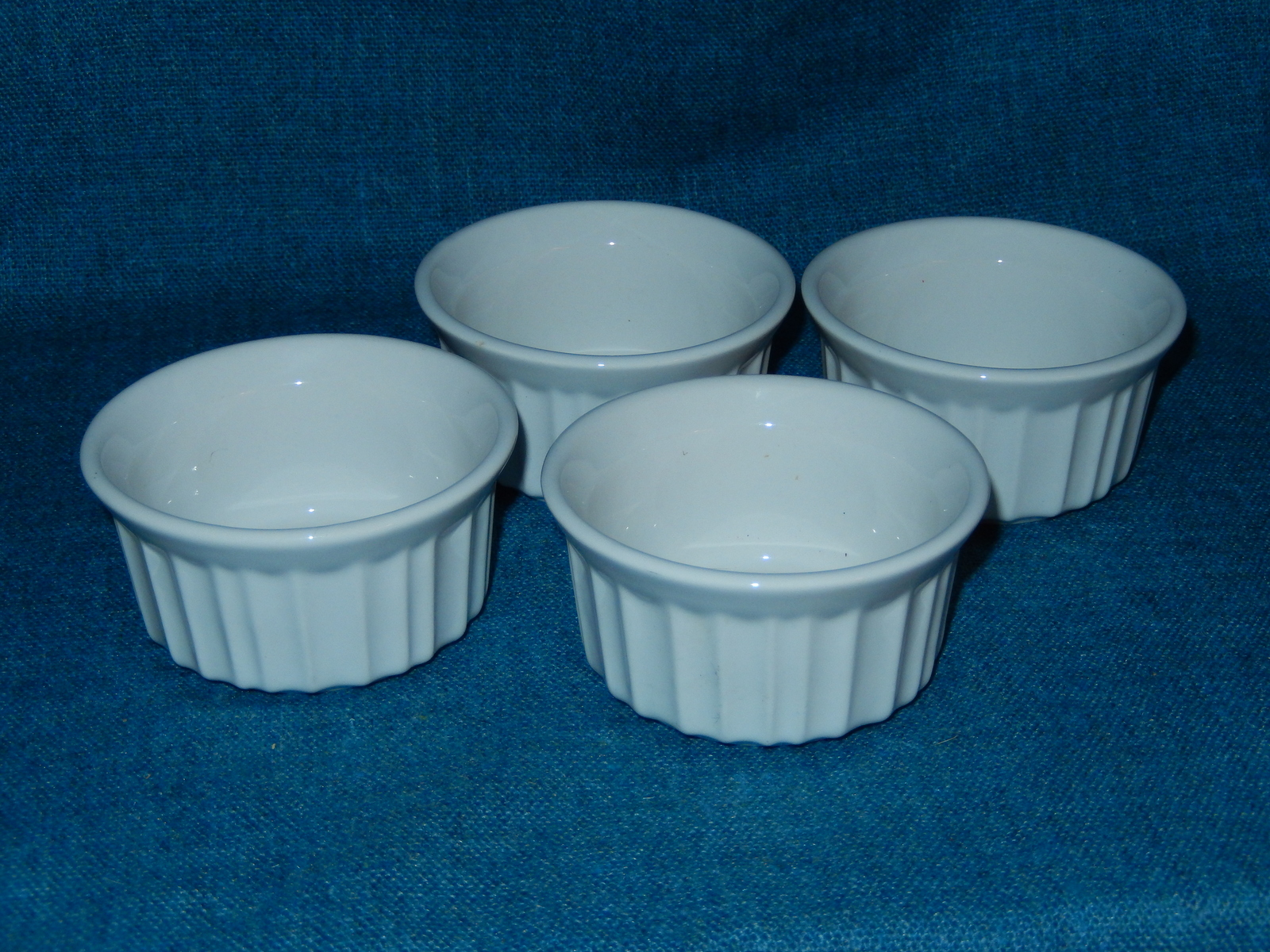 4 CorningWare French White Stoneware Custard Dish Ramekins EUC