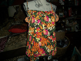 ANTHROPOLOGIE KIMCHI BLUE Sassy Orange Multi  Floral Blouse Size S - $11.88