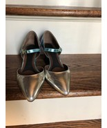 Pre-owned MARNI Metallic Silver & Blue Mary Jane SZ 38 Made in Italy - $78.21