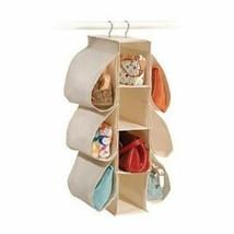 Hanging Handbag Shoe Organizer Closet Systems Save Space Canvas Natural - $569,80 MXN