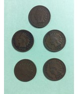 5 INDIAN HEAD PENNIES,1898, 1899, 1900, 1901, 1903 CIRULATED CONDITION NICE COIN - $10.57