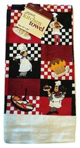 FAT CHEF KITCHEN TOWEL Cupcake Pie Dessert Cook Red Black Check NEW - $6.99
