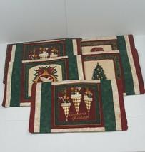 Vintage Handmade 1980 Christmas Table Fabric Cloth Table Mats 5pc Set - $17.86