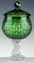 Cristal de Paris Candy Dish ZÜRICH GREEN SATIN DRAGONFLY FOOT France NEW - $821.70