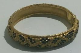 Vintage Gold Tone Hinged Bangle Bracelet With Black Onyx Style Gemstones - $19.79