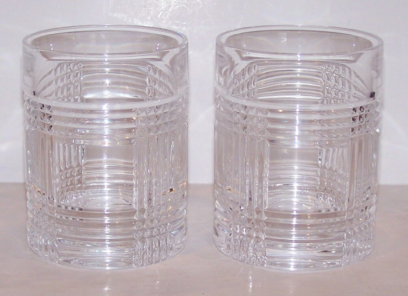 "PAIR OF SIGNED RALPH LAUREN CRYSTAL GLEN PLAID 4"" OLD FASHIONED/WHISKEY GLASSES"