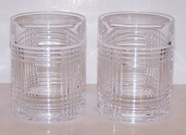 "PAIR OF SIGNED RALPH LAUREN CRYSTAL GLEN PLAID 4"" OLD FASHIONED/WHISKEY GLASSES image 1"