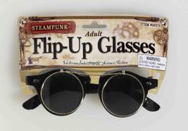 SteamPunk Cosplay Flip-Up Round Gold Rim Glasses #68978, NEW UNWORN - $9.70