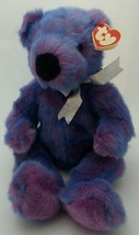 "Classic TY Large Beanie Buddy  Baby Purplebeary Fluffy Bear 14"" 1999 - $10.70"