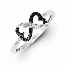STERLING SILVER  BLACK AND WHITE DIAMOND DOUBLE HEART INFINITY  RING - S... - £107.97 GBP
