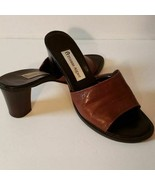 Etienne Aigner Joplin Cognac Brown Leather Sandals Slides High Heels Sho... - $18.47