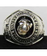 US Marines 925 Sterling Silver 20mm Wide Ring Men's Band Sz 8.5 Onyx Cre... - $79.99