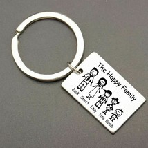Family Keychain Engraved Key Ring Personalized Custom Name Parents Membe... - $15.73