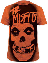 Misfits-Stencil Skull All Over Front-XXL Subway Print Heather Orange T-s... - $17.41