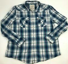 Ae American Eagle Plaid Blue White Vintage Fit Cotton White Snap Shirt Men's Xxl - $23.76
