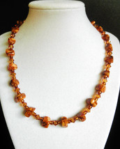 "18"" artisan handcrafted cognac artglass bead, amber inlay & swarovski cr... - $60.00"