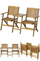Folding Garden Love Seat Wooden Garden Camping Table Chairs Seating Furn... - $148.57