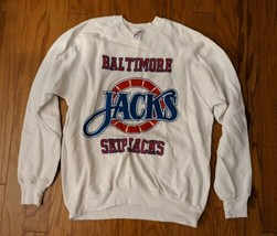 Baltimore Skipjacks Vintage Hockey AHL NHL Jerzees 50/50 White Sweatshirt XL - $65.44