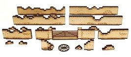 4Ground 28mm Terrain Long Damageable Walls & Large Gate