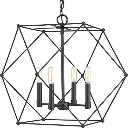 Progress Lighting P500083-031 Spatial Four-Light Pendant, Black