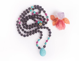Gold and Turquoise Mala Beads Black Rudraksha Bohemian Pink Ruby And Tur... - $55.00