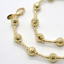 18K YELLOW GOLD CHAIN FINELY WORKED 5 MM BALL SPHERES AND TUBE LINK, 17.7 INCHES image 4